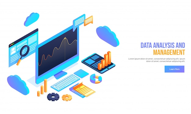 Data analysis and management concept.