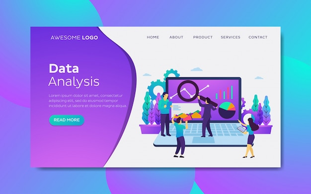 Data analysis modern flat design concept landing page template