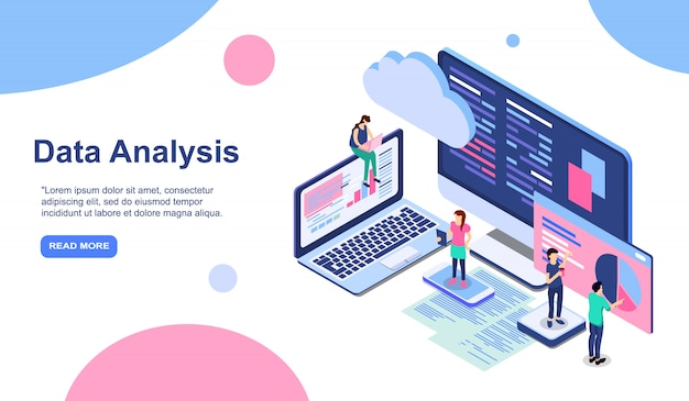 Data analysis modern flat design isometric concept. analytics and people concept. landing page template. conceptual isometric illustration for web and graphic design.
