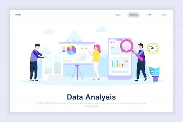 Data analysis modern flat landing page