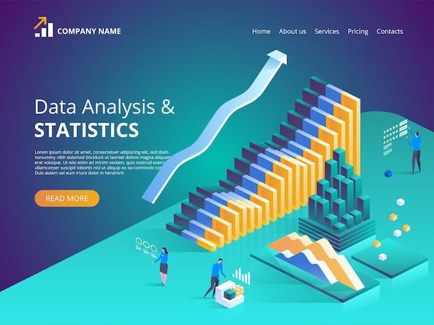 Data analysis online statistics illustration for landing page