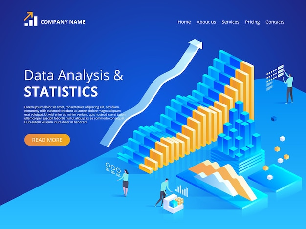 Data analysis. online statistics.  isometric illustration for landing page, web design, banner and presentation.