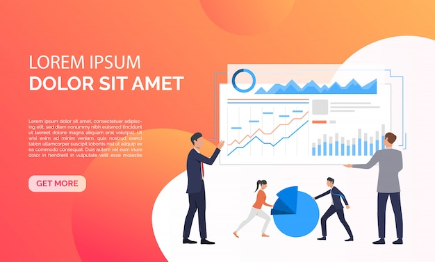 Data analysis orange presentation illustration