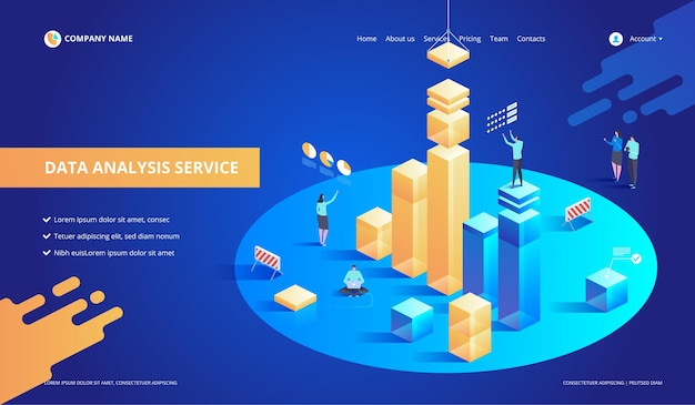 Data analysis service isometric abstract  illustration.