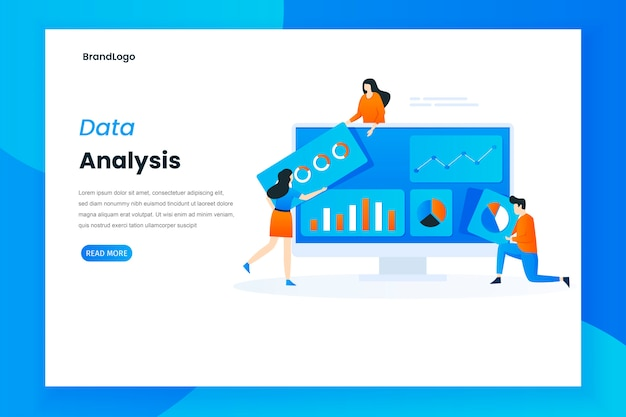Data analysis services landing page illustration template
