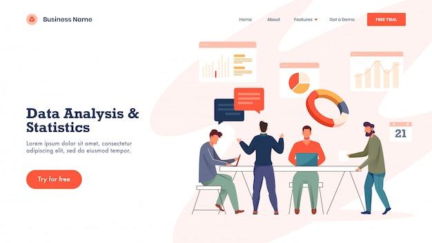 Целевая страница, основанная на анализе данных и статистике, с бизнесменами, работающими вместе на рабочих местах с различными инфографическими сайтами