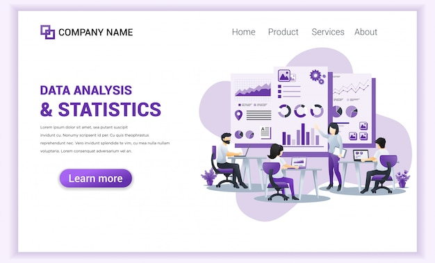 Data analysis and statistics  for landing page template.