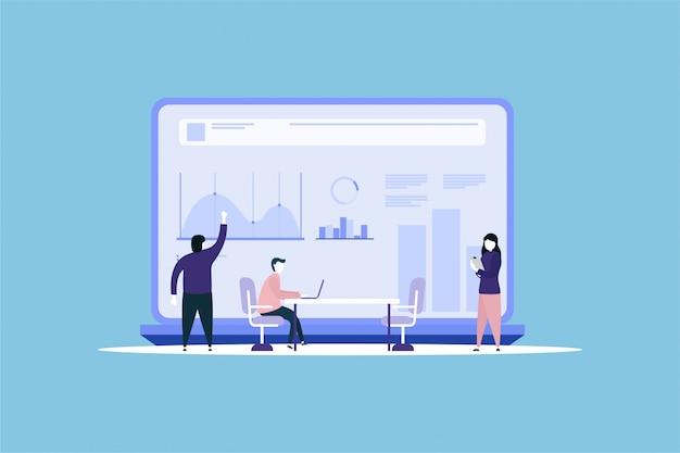 Data analysis teamwork concept background