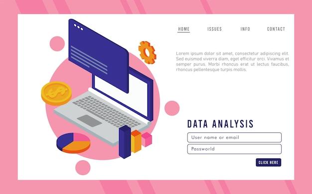 Технология анализа данных с портативным компьютером и шаблоном веб-страницы.
