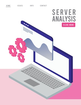 Data analysis technology with laptop and webpage template.