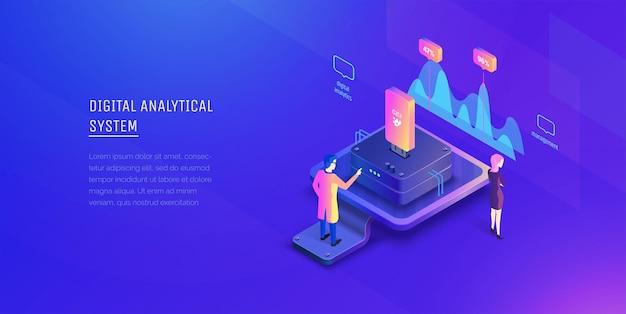 Анализ данных специалист анализирует данные системы и исследует показатели. Premium векторы