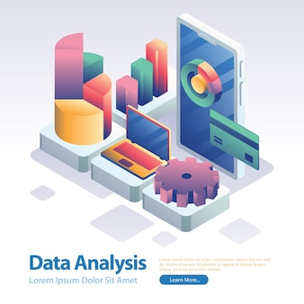 Data analysis tools and gadget isometric style on phone screen illustration