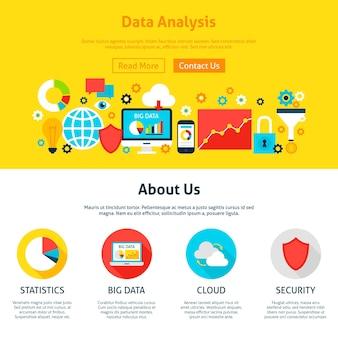 データ分析ウェブデザイン。ウェブサイトのバナーとランディングページのフラットスタイルのベクトルイラスト。