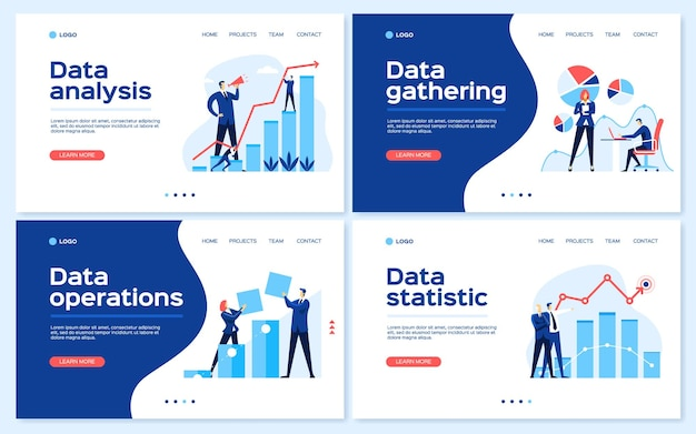 Data analysis webpages statistical analyst team business growth strategy concept