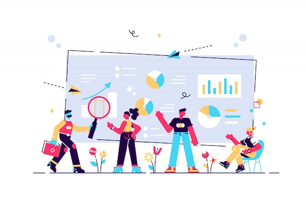 Data analysis, website analytics, business, workflow management, office workers are studying the infographic, people work in a team, analysts working, illustration, simple tool, teamwork.