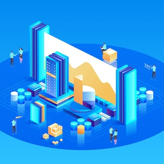 Data analysis for website and mobile website. easy to edit and customize. modern design isometric
