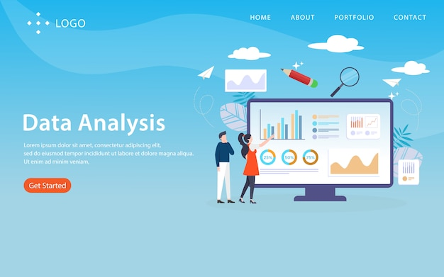 Data analysis, website template,  layered, easy to edit and customize, illustration concept