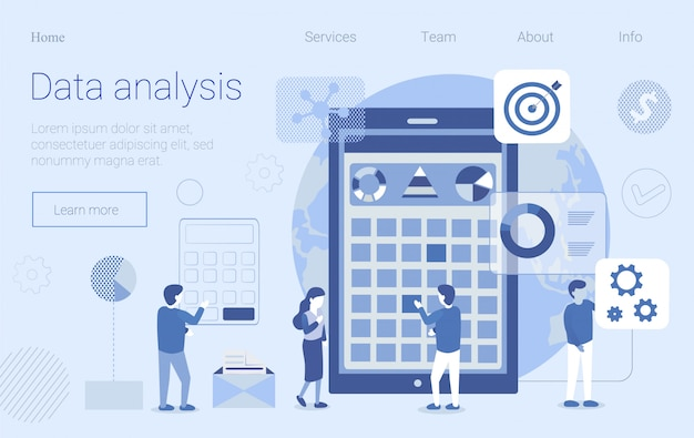 Data analysis workflow flat design landing page