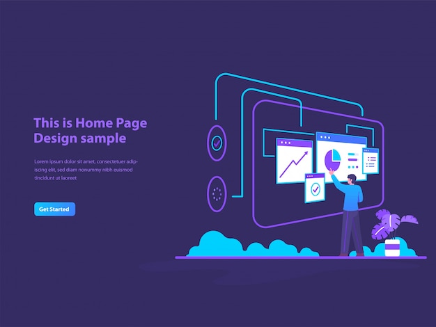 Data analyst concept illustration for landing page