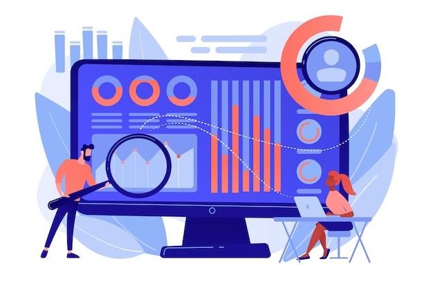 データアナリストは、拡大鏡を使用して収入と支出を監視および管理します。財務管理システム、財務ソフトウェア、it管理ツールの概念