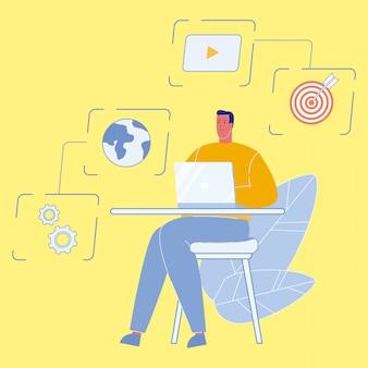 Data analyst working on laptop vector illustration