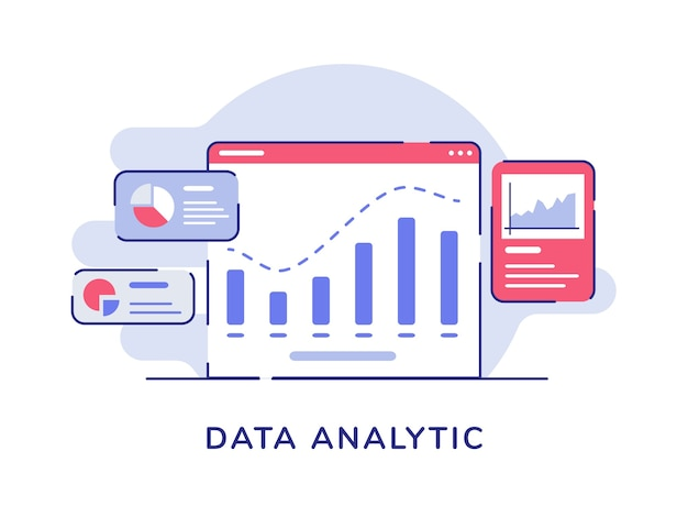 Data analytic concept bar chart on display computer screen pie curve chart white isolated background