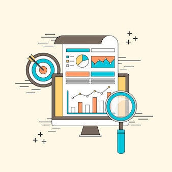 Data analytic concept: magnifying glass with business chart in line style