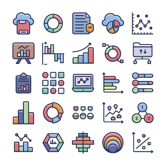 Data analytics and charts flat icons set
