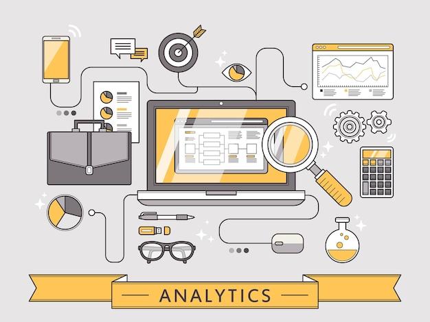 얇은 선 스타일의 데이터 분석 개념
