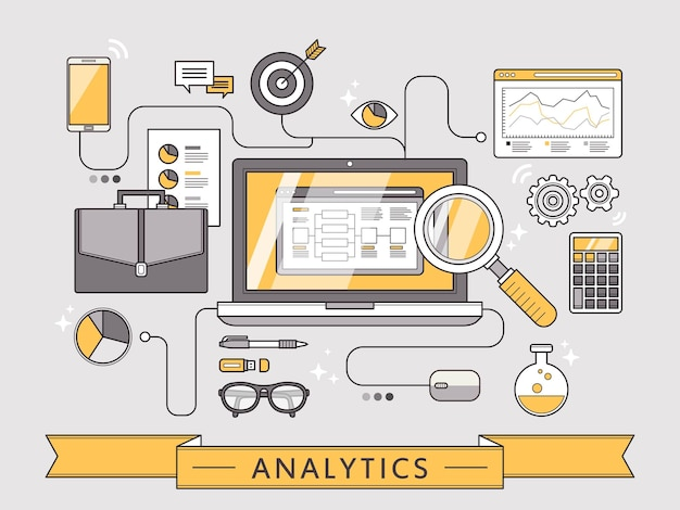 Data analytics concept in thin line style