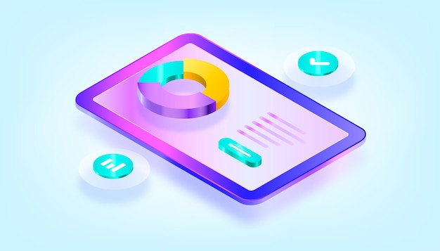 Data analytics, dashboard and business finance report. 3d gradient isometric illustration