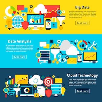 データ分析の水平バナー。ウェブサイトのヘッダーのベクトル図。ビジネスアイテムフラットデザイン。