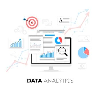 Data analytics information and web development website statistic.