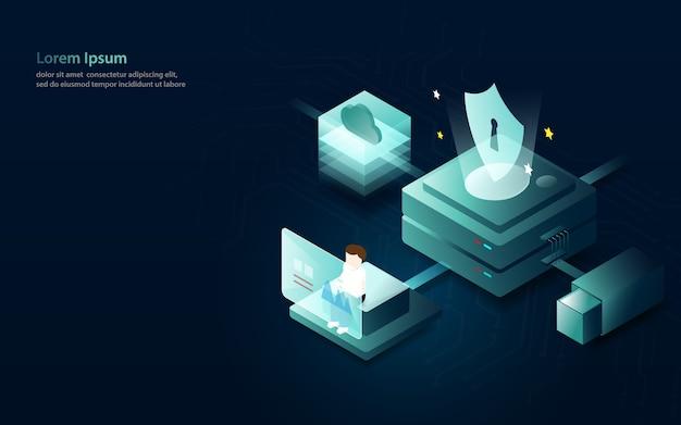 Data analytics internet security concept