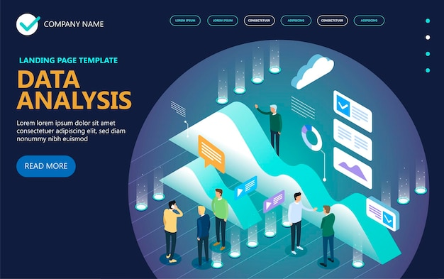 Data analytics isometric vector concept banner, businessmans, desktop, graphs, statistics, icons. 3d isometric flat design. vector illustration
