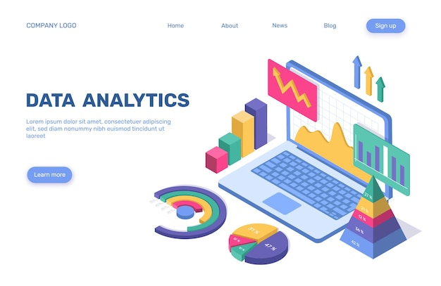Data analytics landing page isometric business statistical concept