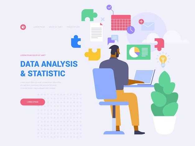 データ分析ランディングページベクトルテンプレート。フラットなイラストとビジネス統計のウェブサイトのホームページのインターフェイスのアイデア。会計監査。会社のパフォーマンス分析ウェブバナー漫画のコンセプト