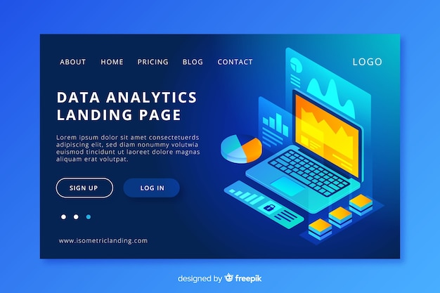 Data analytics landing page