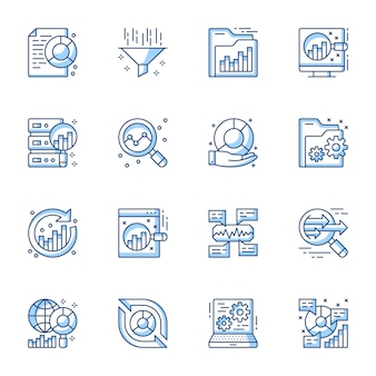 Data analytics linear vector icons set.