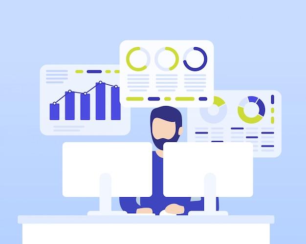 Аналитика данных, человек, работающий с бизнес-данными