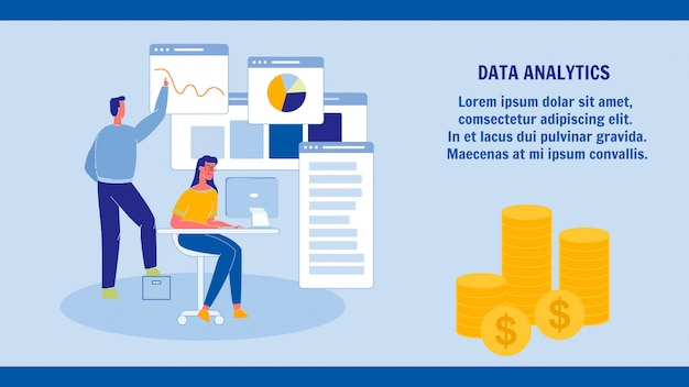 Data analytics, statistics web banner template
