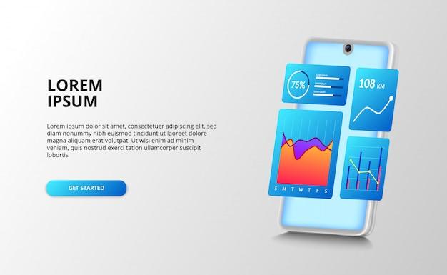 Data analytics ui дизайн приборной панели с диаграммой, анализ графика процентного отчета. для финансов, бухгалтерия с 3d перспективным смартфоном