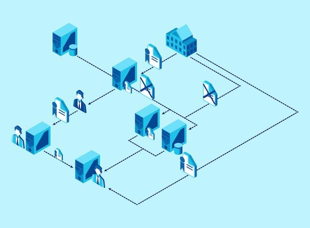 Распределение данных и файлов от одного компьютера к другому в агентстве - изометрическая иллюстрация