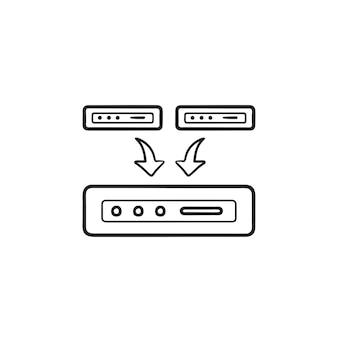데이터 백업 손으로 그린 개요 낙서 아이콘입니다. 백업 정보, 온라인 백업 데이터, 서버 개념. 인쇄, 웹, 모바일 및 흰색 배경에 인포 그래픽에 대한 벡터 스케치 그림.