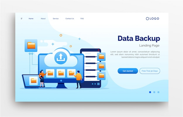 Data backup landing page website illustration flat template