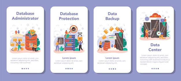 Data base administrator mobile application banner set. manager working at data center. data protection, backup and restore. modern computer technology, it profession. flat vector illustration