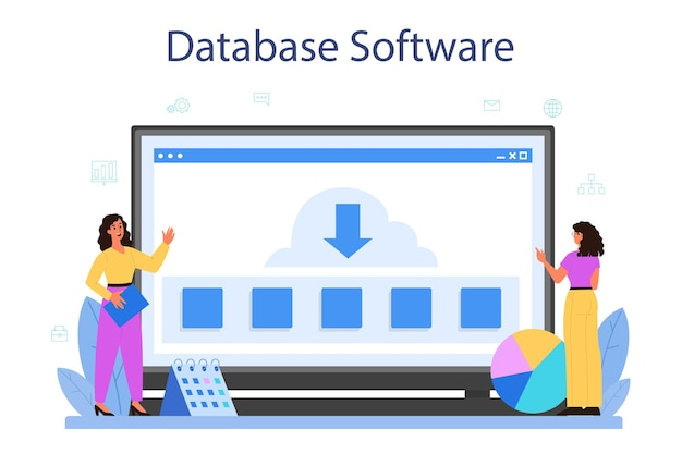 데이터베이스 관리자 온라인 서비스 또는 플랫폼. 데이터 센터에서 일하는 여성 및 남성 캐릭터. 데이터베이스 소프트웨어. 격리 된 벡터 일러스트 레이 션