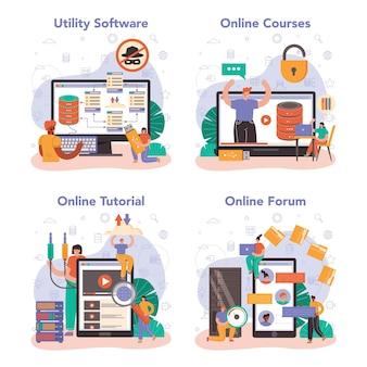 データベース管理者のオンラインサービスまたはプラットフォームセット。データセンターで働くマネージャー。データ保護、バックアップ、復元。オンラインフォーラム、チュートリアル、コース、ユーティリティソフトウェア。フラットベクトルイラスト