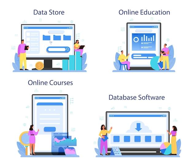 Data base administrator online service or platform set.