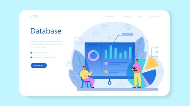 Веб-баннер или целевая страница администратора базы данных. женский и мужской персонаж, работающий в центре обработки данных. современные компьютерные технологии, идея профессии ит.